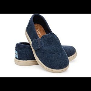 Toms navy burlap avalon slip on